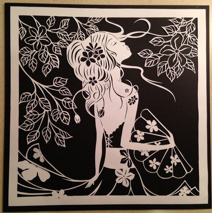 Original paper cut. Beautiful girl with fen от DESIGNPAPER на Etsy