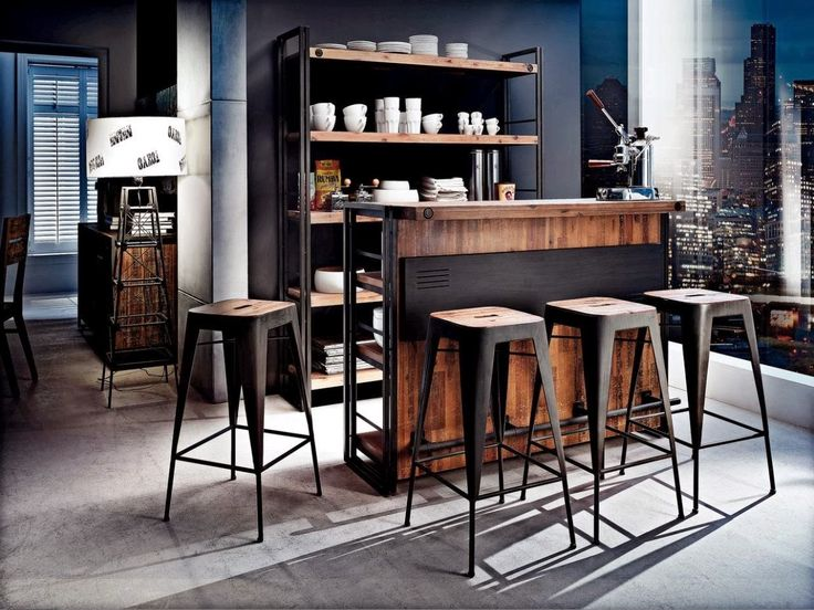 Kika City Industrial Bar Living Room Ideas Pinterest