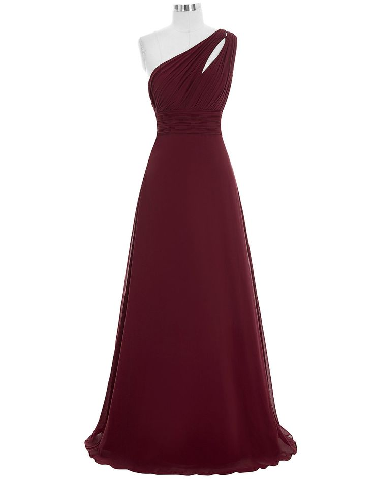 Sexy One Shoulder Chiffon Burgundy Bridesmaid Dress,Floor Length A Line Burgundy Bridesmaid Dresses,Elegant Long Cheap Prom Dresses Party Evening Gown