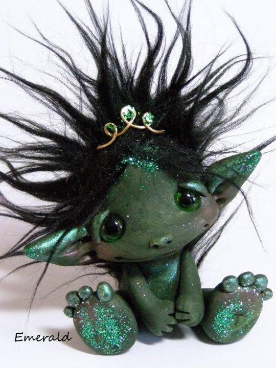 GreenMan Trollfling by CDHM Artisan Amber Matthies of The Trollflings Trolls, www.cdhm.org/user/trollgirl....(a green-filled DELIGHT!)....