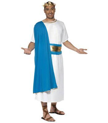 Romeins/ grieks heren outfit. Dit romeins of griekse heren outfit bestaat uit wit met blauw gewaad, riem en de gouden bladeren diadeem. Carnavalskleding 2015 #carnaval