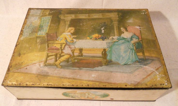 Vintage Uneeda Nabisco Brand Biscuit Tin Box with Victorian Couple Very Nice! #Nabisco