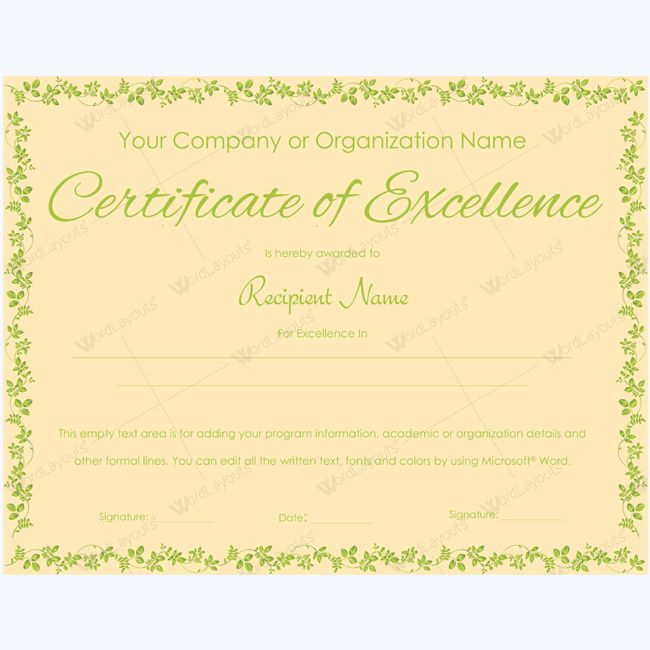 16 best Certificate of Excellence templates images on Pinterest - award of excellence certificate template