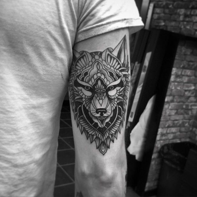geometric tattoo wolf
