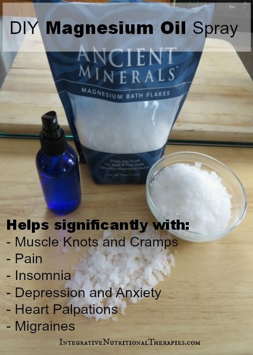DIY Magnesium Oil Spray Recipe Ingredients and Tools     1/2 cup filtered water     1/2 cup magnesium chloride flakes (the most widely recommended brand and very well sourced, and the one I use, is Ancient Minerals)     Spray bottle (I use a 4oz cobalt bottle, that I love)     Optional essential oils for refreshing scent