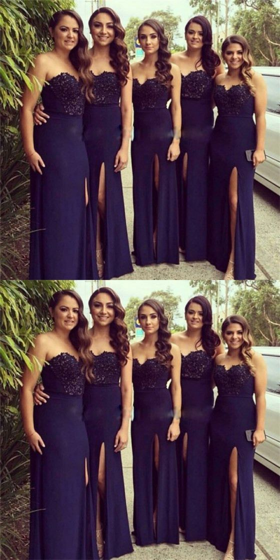5ea1d5e43fe Sexy Mermaid Sweetheart Long Cheap Dark Blue Bridesmaid Dresses with Lace