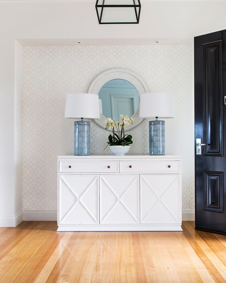 Entryway from a brand-new build has been thoughtfully designed as this families 'forever' home with a Hamptons-inspired look. Photo: Katherine Jamison | Story: homes+