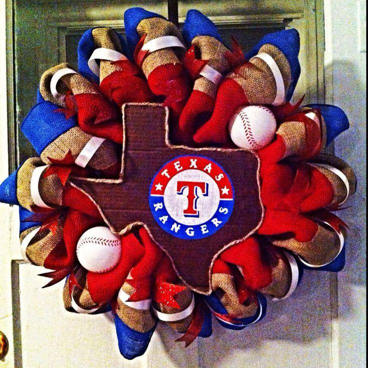 Texas Rangers Baseball burlap wreath. $60