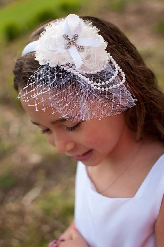 White Shabby Flower Headband Veil Headband First Holy by miniMEacc