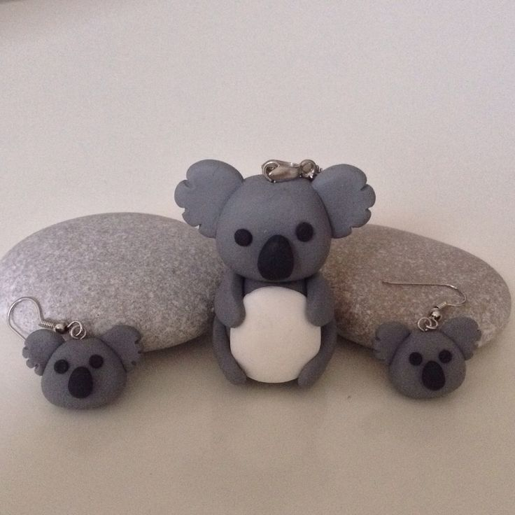 Koala necklace and earring