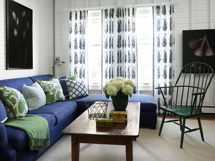 Living Room Decorated With Blue And Green Tom Stringer Design