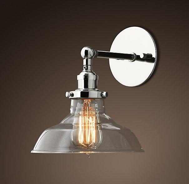 Glass Barn Filament Sconce Polished Nickel Cory Lighting Pinterest Polished Nickel