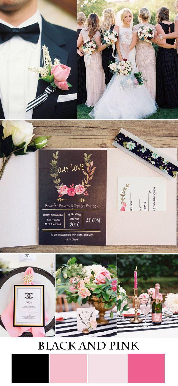 black,pink and glitter garden wedding ideas