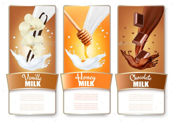 Set of Three Labels in Milk Splashes by almoond Set of three labels of chocolate, honey and vanilla milk splashes. Vector. Fully editable, vector objects separated and grouped, g