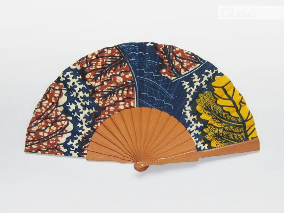 Accessoire en Wax africain - Éventail espagnol avec pochette Olelé - Stil africain primptemps été