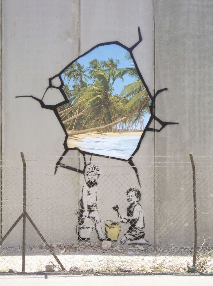 Banksy Was Here The invisible man of graffiti art: A Banksy trompe-l'oeil painting on a security fence in the West Bank.