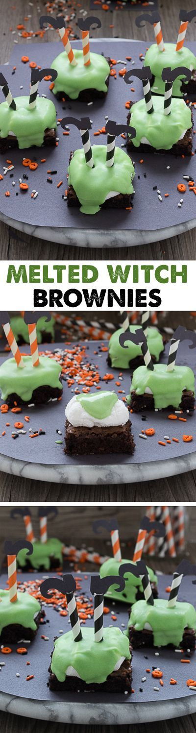 Celebrate Halloween with melted witch brownies! They are so cute, simple to put…