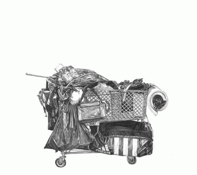 Taizo Yamamoto's Drawings Of Homeless Shopping Carts