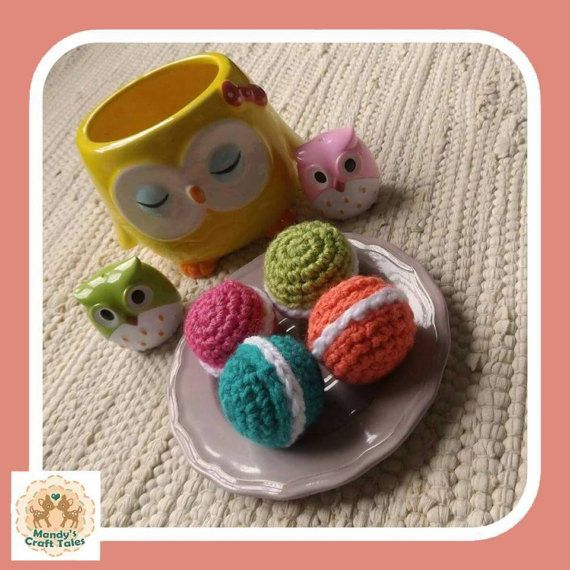 These crochet macarons are the perfect pretend play items for your little girl.  Perfect for a kids gift.  Crochet Macarons Crochet Cookies Pretend Macarons Crochet