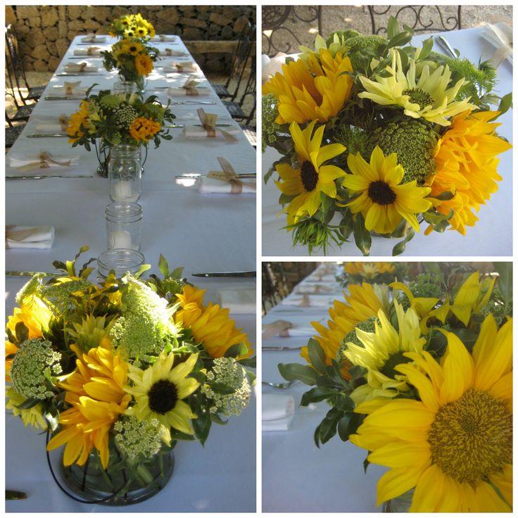 Sunflower centerpieces dragonflyfloral