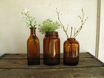 Pull together a collection of glass bottles Little Byrd vintage + handmade photographed this collection