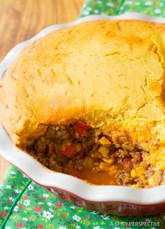 Perfect Tamale Pie Recipe - Rich zesty beef filling topped with fluffy corn flour (masa) top. This tamale pie is much easier thatn making authentic tamales,