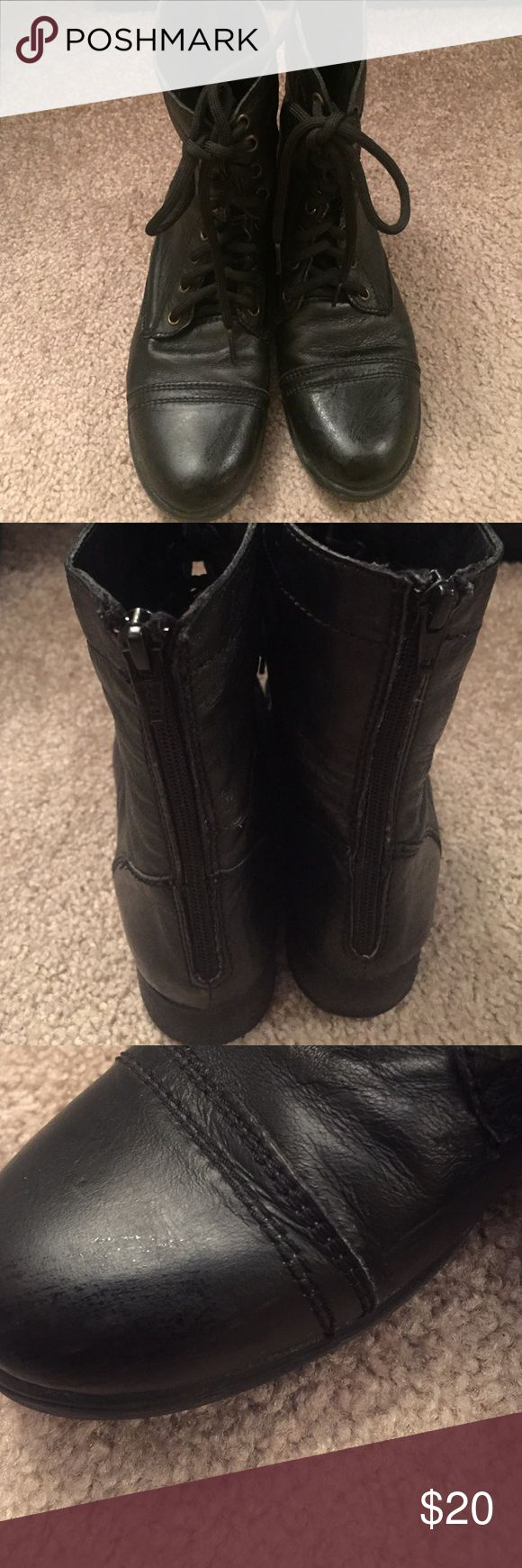 Steve Madden Black Boots, sz 8 Super cute utility style boots, sz 8. Some small scratches as shown in pictures 3 & 4! Steve Madden Shoes Ankle Boots & Booties