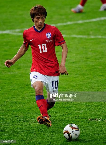 Korean national football team player Shin HyungMin kicks the ball during a friendly match against Belarus at the Kufstein stadium on May 30 2010...