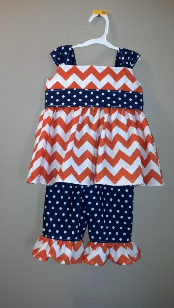 Auburn Chevron Outfit with Dot Pants and Accents  (available in several other colors)18/24 mo through 4T