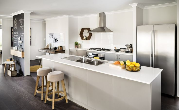 Central galley style kitchen
