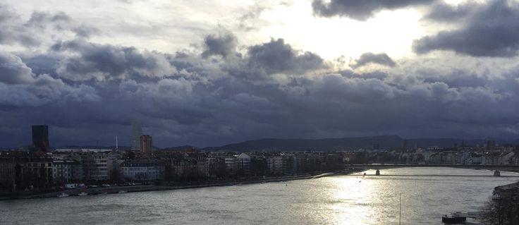 Rhein in Basel. Sauberes Wasser, ohne Belastungen aus der Landwirtschaft (Pestizide, Antibiotika). Initiative für sauberes Trinkwasser.