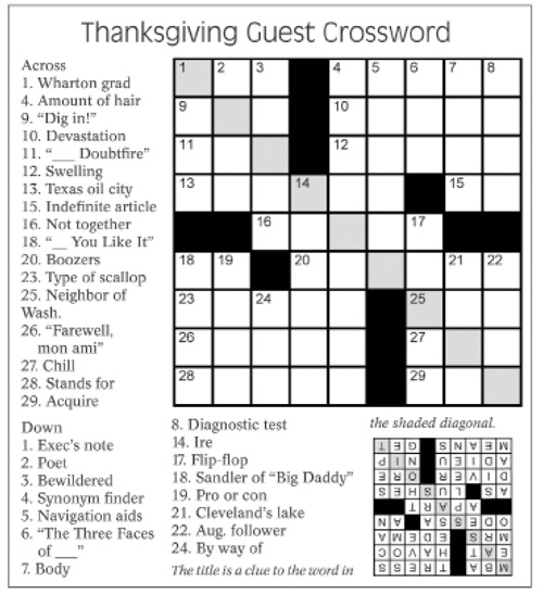 Thanksgiving crossword puzzle fall decorations pinterest for Decoration crossword clue