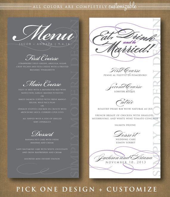 dinner menu, cocktail menu, wedding, PRINTABLE #wedding #menu #printable