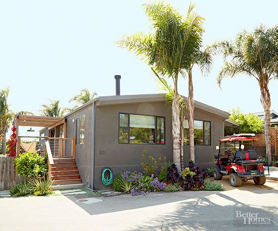A California couple was looking to upgrade from their one-bedroom apartment when the husband stumbled upon a neighborhood of mobile homes after a day of surfing; they were soon smitten. They decided to invest in a 1970s double-wide and quickly went to work gutting and transforming it with the help of designer Frances Merrill of Reath Design.