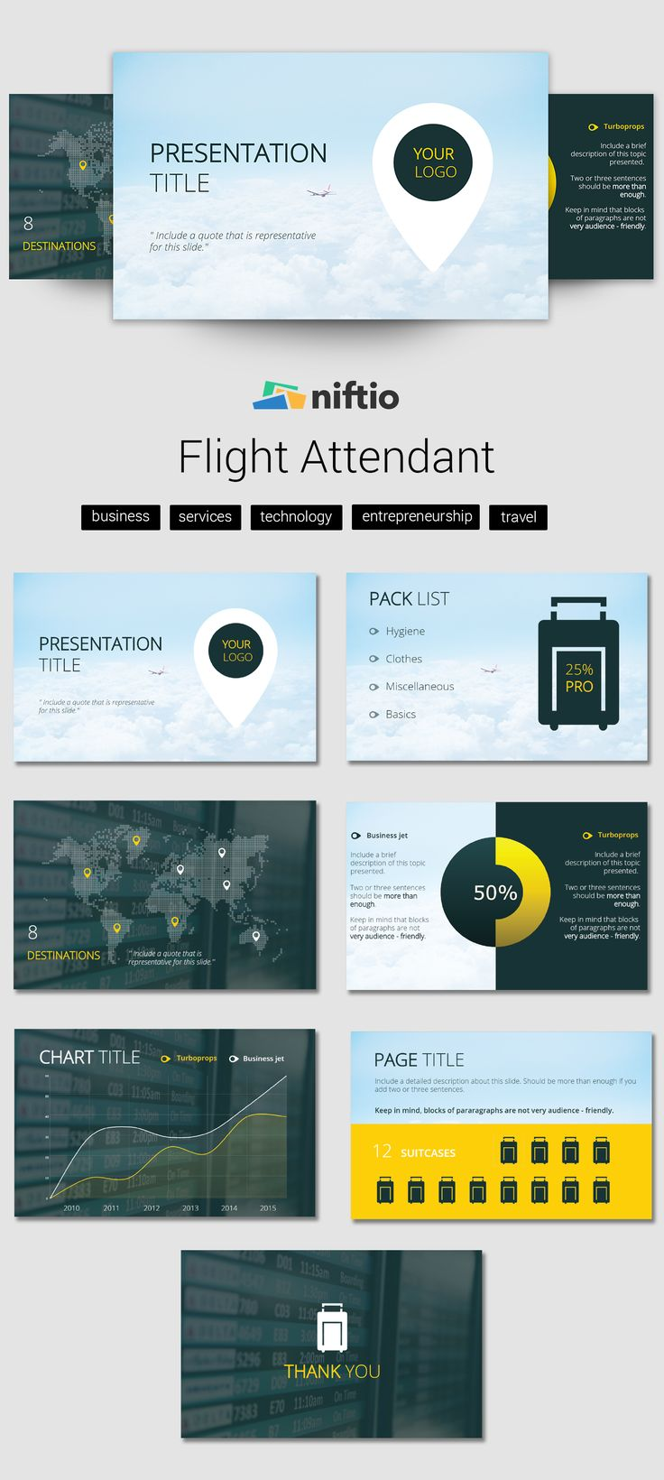 The 'Flight attendant' Lifestyle Presentation Template. Visit for more!