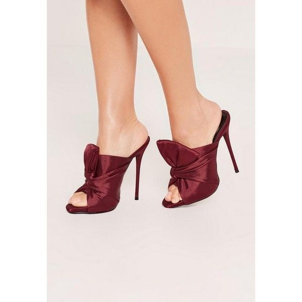 Missguided Red Knotted Front Mule Heeled Sandals ($32) ❤ liked on Polyvore featuring shoes, sandals, berry, heeled sandals, red heeled sandals, red mule shoes, mule shoes and red sandals