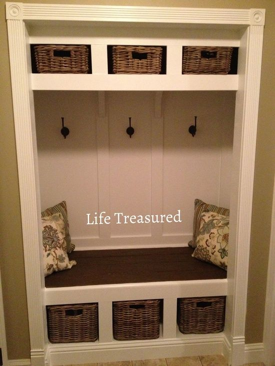 turn closet into a mudroom.  Front room remove partition wall