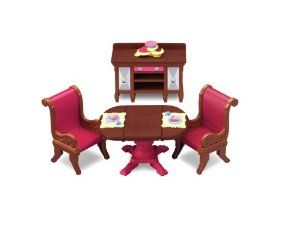 Fisher-Price Loving Family Dining Room by Fisher-Price. $13.63. The drop leaf table opens for more seating. Comes with two comfy savannah chairs. The buffet is great for storing accessories and displaying goodies. Accessories include a dessert Tray and 2 food trays. Great addition to your Loving Family Dollhouse collection. From the Manufacturer                Welcome the family for dinner celebrations or special occasions in this elegant dining room set. The drop lea...