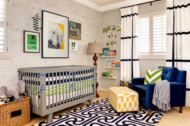 Gorgeous Eclectic Nursery With Bold Graphic Designs >> http://www.hgtv.com/design-blog/design/gender-neutral-nursery-design-ideas?soc=pinterest