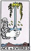 Ace of swords  n the right hands, the sword is a powerful weapon that can serve the needs of justice and authority. But the sword cuts both ways, and when in the posession of those who seek to use it for evil, its power becomes wholly negative. Every Sword card in the Tarot bears the duality but the Ace is particularly susceptible to it. It is the beginning, the spark of potential that will influence all that lies ahead. The Sword by itself can never be positive or negative. The bearer of…