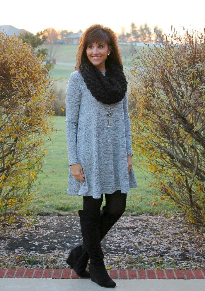 This is Cyndi Spivey. She has a fashion website for women over 40 :) I like almost every thing she posts. This is from 25 days of winter. I could use any pieces of this outfit. The dress is from Old Navy size women's 10 or a L for most tops