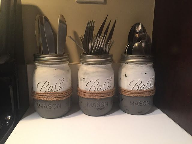 diy mason jar silverware caddyholder
