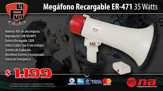 La Púa San Miguel: Megáfono Recargable NIPPONAMERICA ER-471 35 Watts