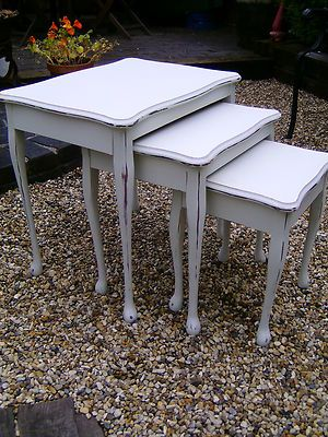 Shabby chic wooden nest of tables