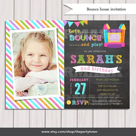 Bounce House Birthday invitation Girl Bounce House by ThePartyTown