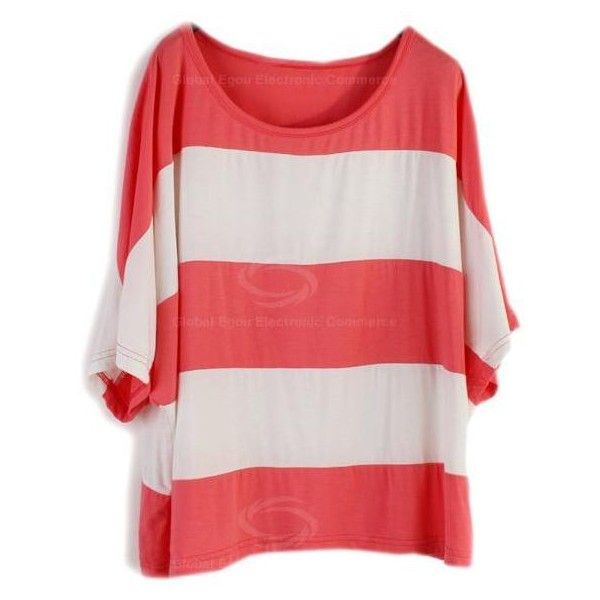Casual Style Scoop Neck Stripe Batwing Cotton Short Sleeve T-Shirt For... ❤ liked on Polyvore featuring tops, t-shirts, shirts, remeras, striped shirt, red striped shirt, t shirts, stripe t shirt and stripe shirt
