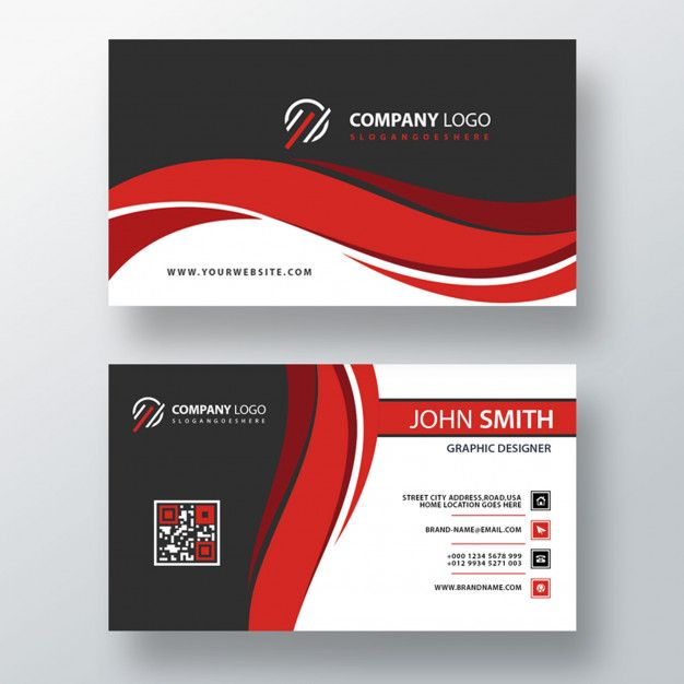 Download Red Wavy Psd Business Card Template For Free Free