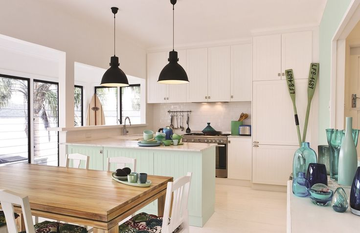 Lighter blues are soothing and compliment natural light, making them ideal for beach houses and kitchens with big windows. #taubmanscolour #kitchen #featherblue