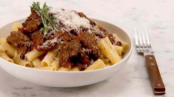 Slow Cooker Braised Beef and Rosemary Pasta Sauce