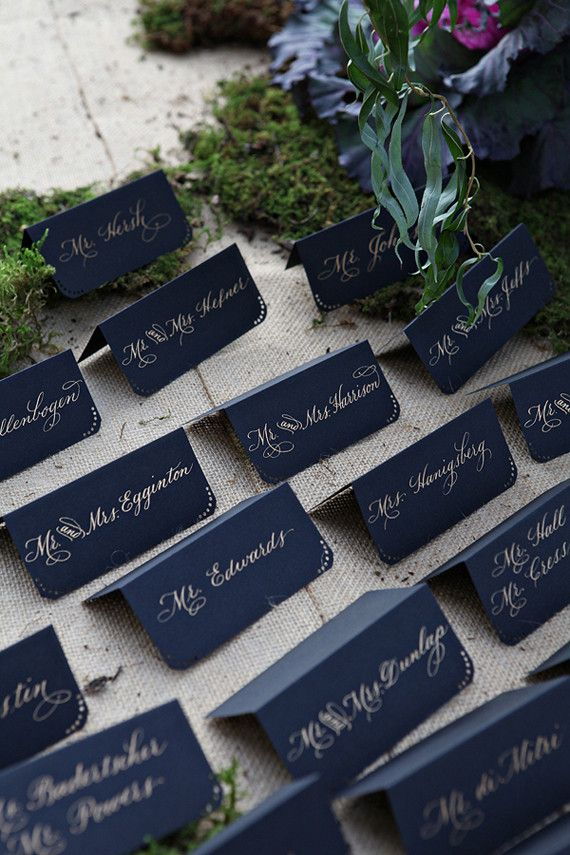 Place cards for a navy and gold themed wedding | Wedding Inspiration & Ideas | Tablescapes | China
